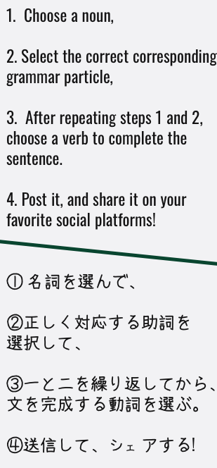 In four easy steps, write real Japanese that obeys Japanese grammar rules!