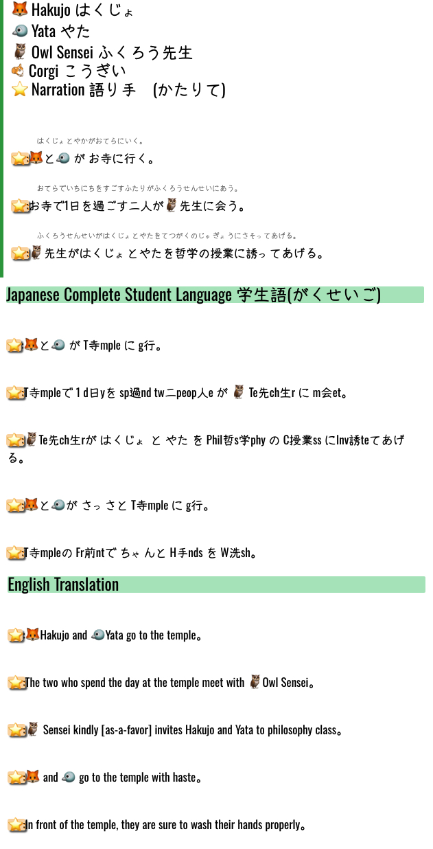 Japanese Complete dialogues feature Japanese, Student Language, and English translations that can be skipped among smoothly in order to facilitate rapid assimilation.